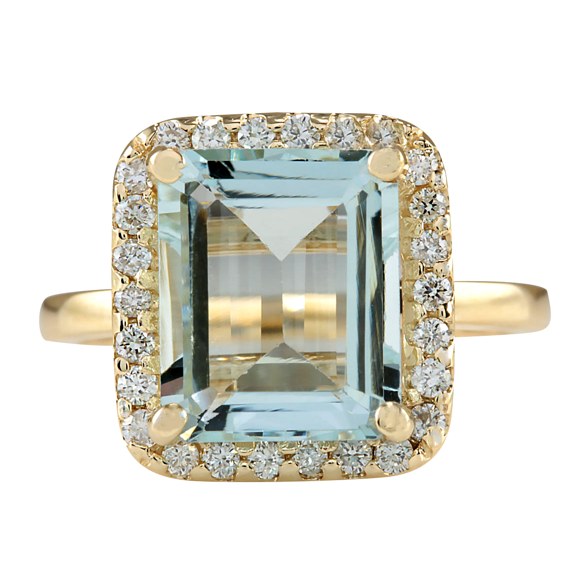 4.30CTW Natural Blue Aquamarine And Diamond Ring In 14K Yellow Gold by