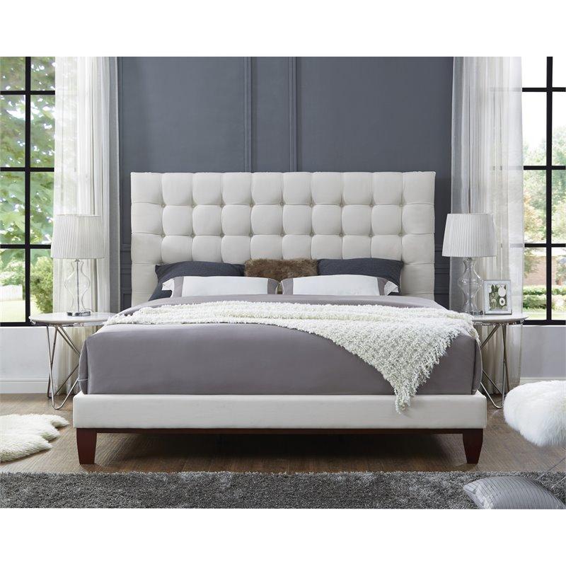 Blake Beige Linen Bed Frame - Queen Size - Tufted - Upholstered