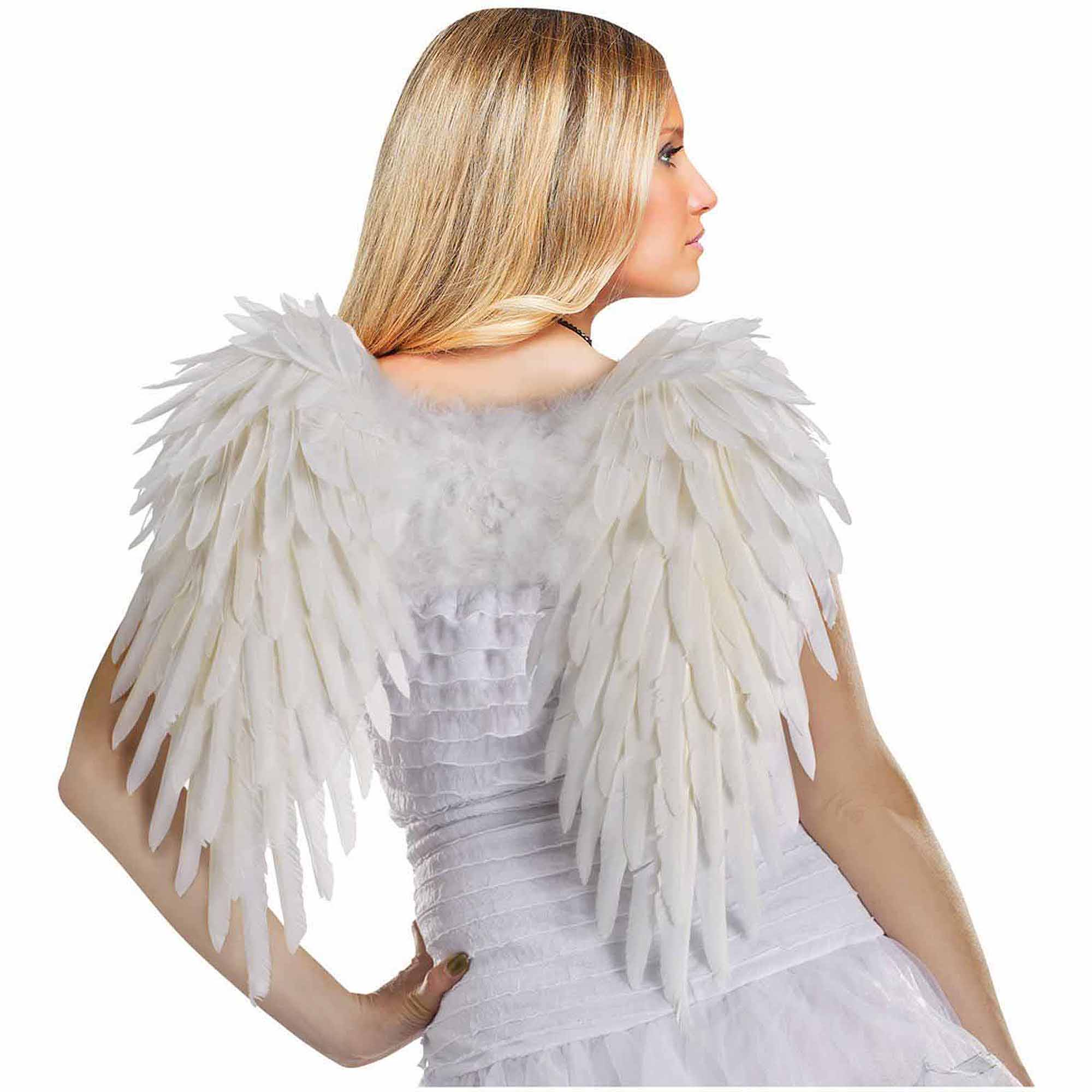 Adult White Feather Angel Wings Halloween Costume Accessory