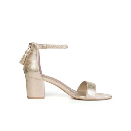 29101ae5496d Unique Bargains Women s Braided Ankle Strap Tassel Block Heeled Sandals Gold  (Size 10) ...