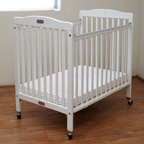 LA Baby Compact Wood Folding Crib with 3 in. Mattress