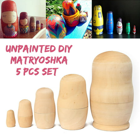 4.25'' 5x Unpainted DIY Craft Blank Wooden Embryos Russian Nesting Dolls Matryoshka Stacking Toy Gift 5 Layers - Craft Dolls