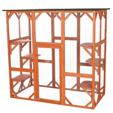 Trixie Pet Products, 2-Story Patio Enclosure, Outdoor Cat House with Ramp, Wooden, 70-in Carnival Cat Enclosure