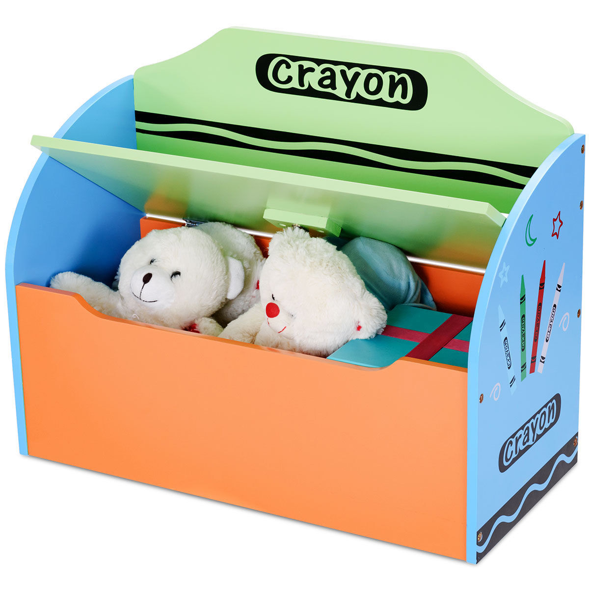 Ordinaire Gymax Crayon Themed Wood Toy Storage Box And Bench For Kids Toddler  Children Colorful