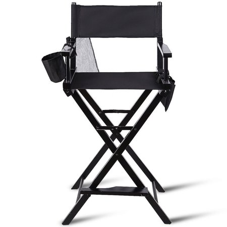 Gymax Foldable Professional Artist Directors Chair Wood Light