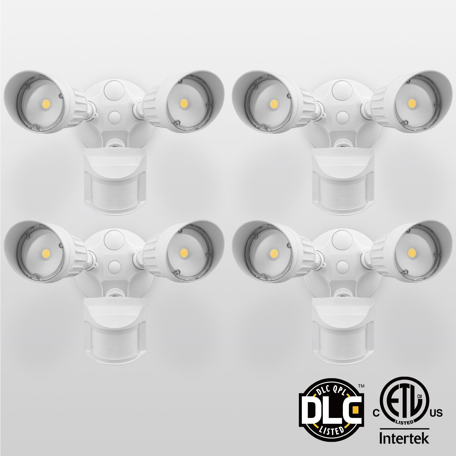 TORCHSTAR 4 Pack LED Outdoor Security Light, 20W Outside Security Lights, 1800lm Flood Light for Porch, Stairs, 5000K Daylight, White