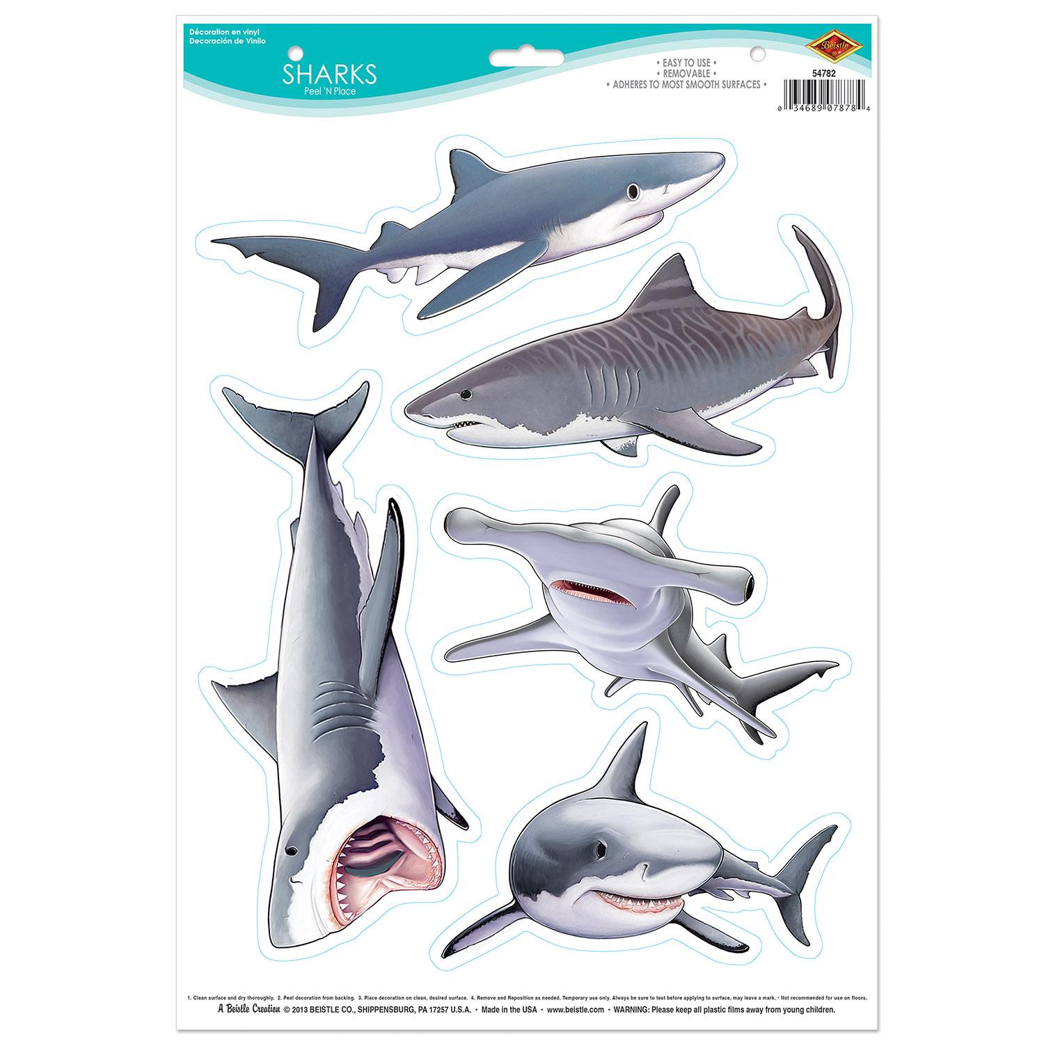 Club Pack of 60 Sharks Peel 'N Place Party Clings Decorations