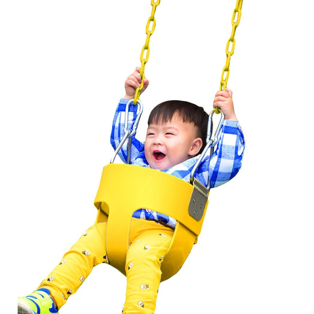 High Back Full Bucket Toddler Swing Seat with Plastic Coated Chains - Swing Set  CYBST