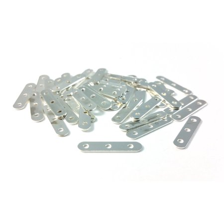 40 PCS - Silver Spacer Bar Three Hole Jewelry Finding End Connector Pendant C0932 (Jewelry Connectors)