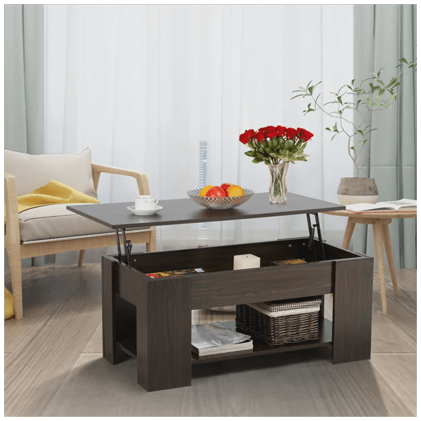 Yaheetech Lift Up Top Coffee Table With Under Storage Shelf Modern Living Room Furniture (Espresso) - Walmart.com - Walmart.com