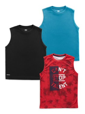 Athletic Works Boys 4-18 & Husky Active Sleeveless Performance Muscle T-Shirt, 3-Pack Bundle