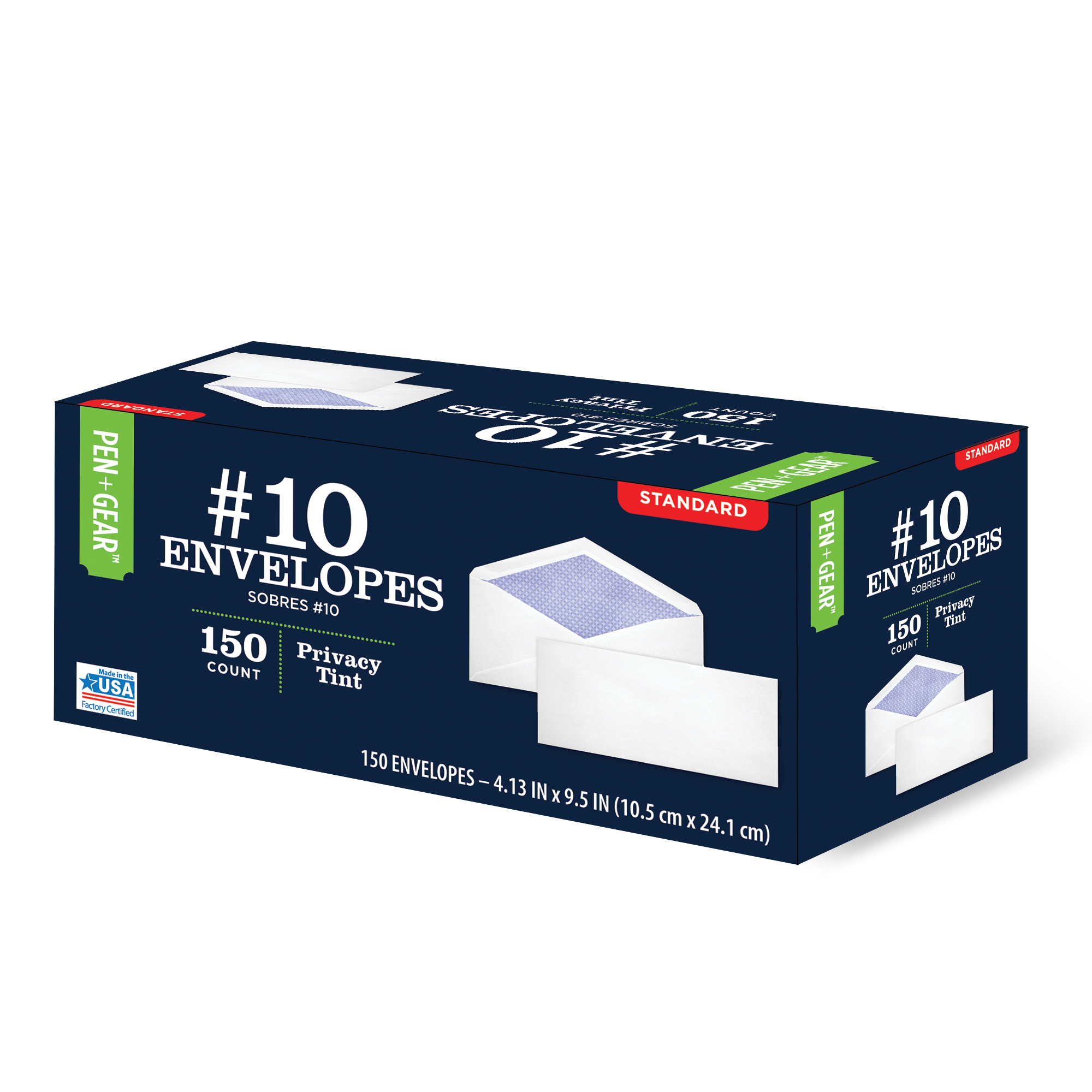 Pen+Gear #10 Privacy Tinted Business Envelopes with Gummed Closure, (4-1/8 x 9-1/2) 150/Pack (61746)