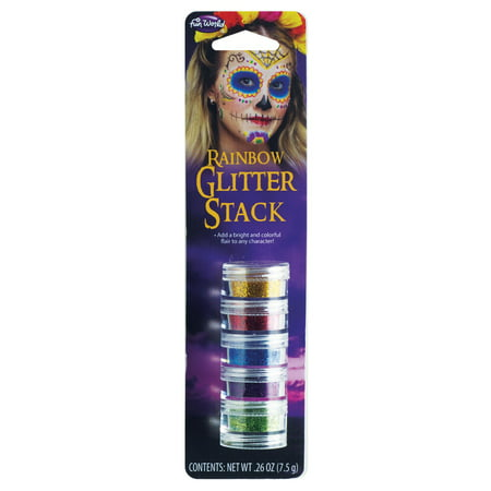 Rainbow Day of the Dead Sugar Skull Makeup 5pc Glitter Stack, .26 oz, - Sugar Skull Halloween Makeup Kit