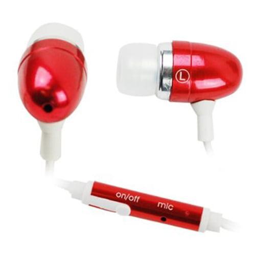 Red Headset 3.5mm Hands-free Earphones w Mic Metal Earbuds Headphones Compatible With Motorola Moto G6