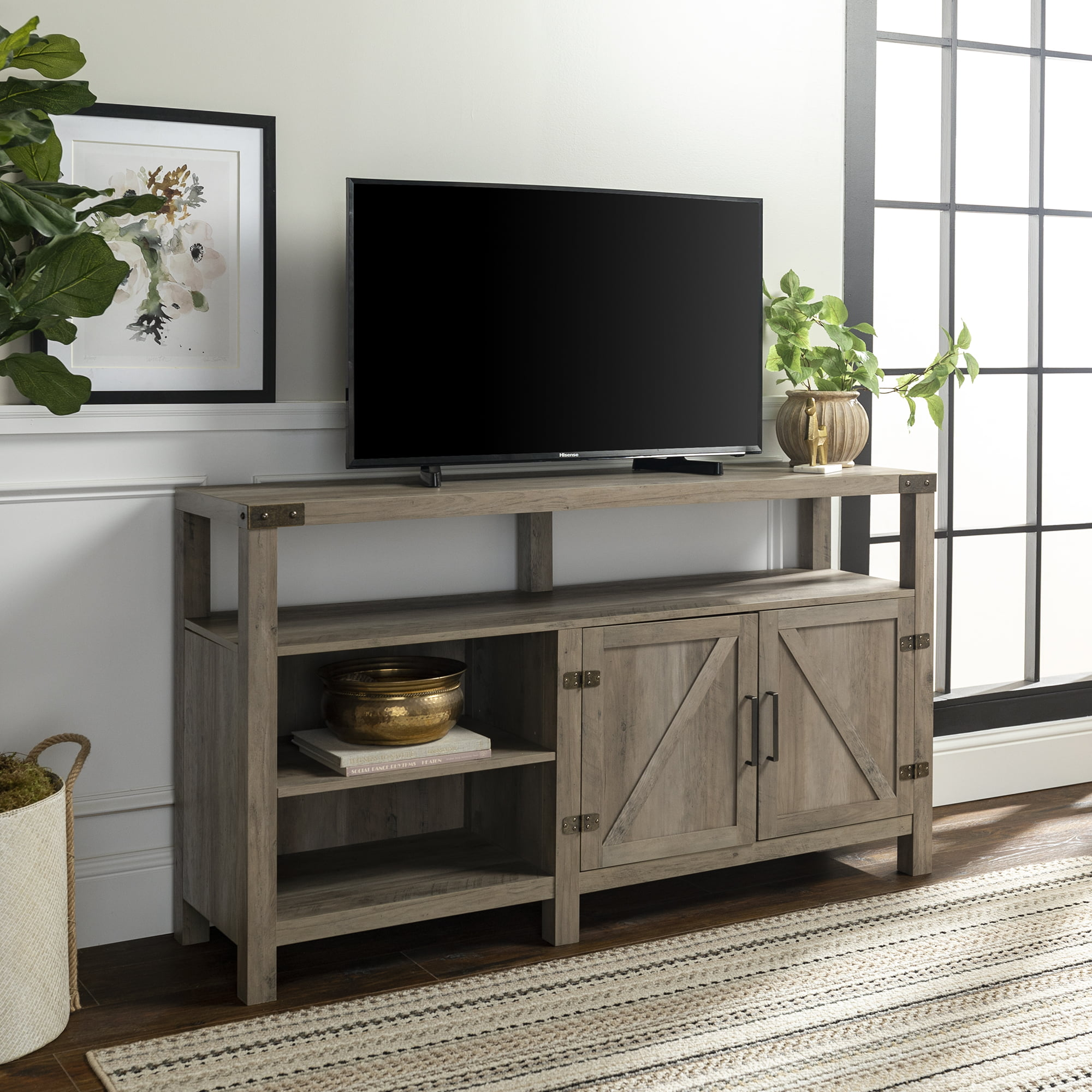 Manor Park Modern Farmhouse Tall Barn Door Tv Stand For Tv S Up To 64 Grey Wash Deal Brickseek
