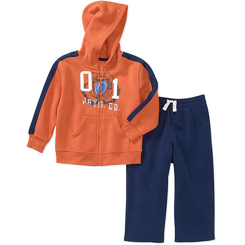 Faded Glory Baby Boys' 2-Piece Graphic Hoodie and Pants Set