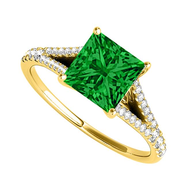 Fine Jewelry Vault UBUNR50660AGVYCZE Emerald CZ Split Shank Ring in Yellow Gold Vermeil, 8 Stones