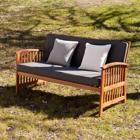 Southern Enterprises Tarlton Outdoor Sofa, Oiled Hardwood with Rich - Ob Oiled Bronze Accessories