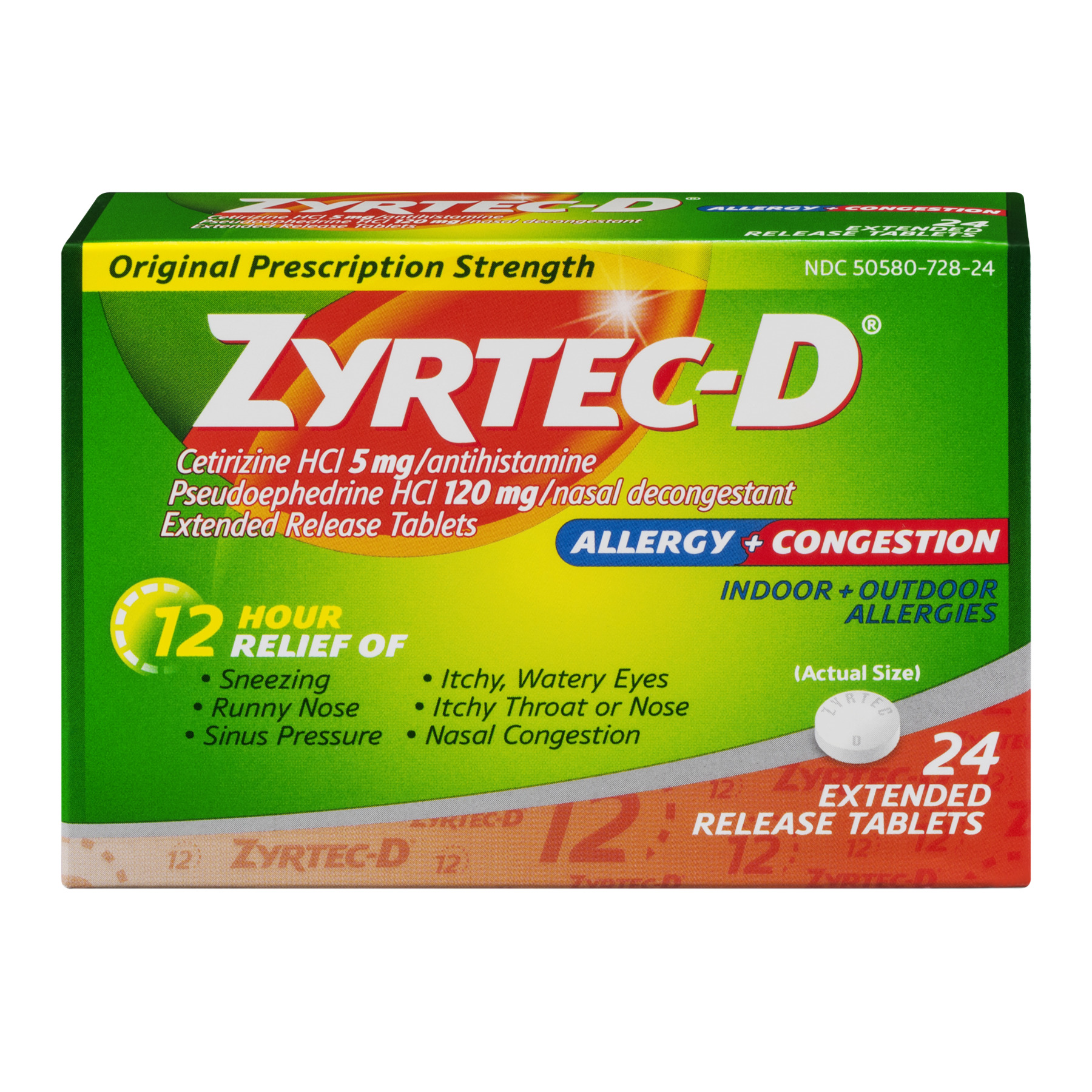 Zyrtec-D Allergy & Congestion 12 Hour Extended Release Tablets, 24ct