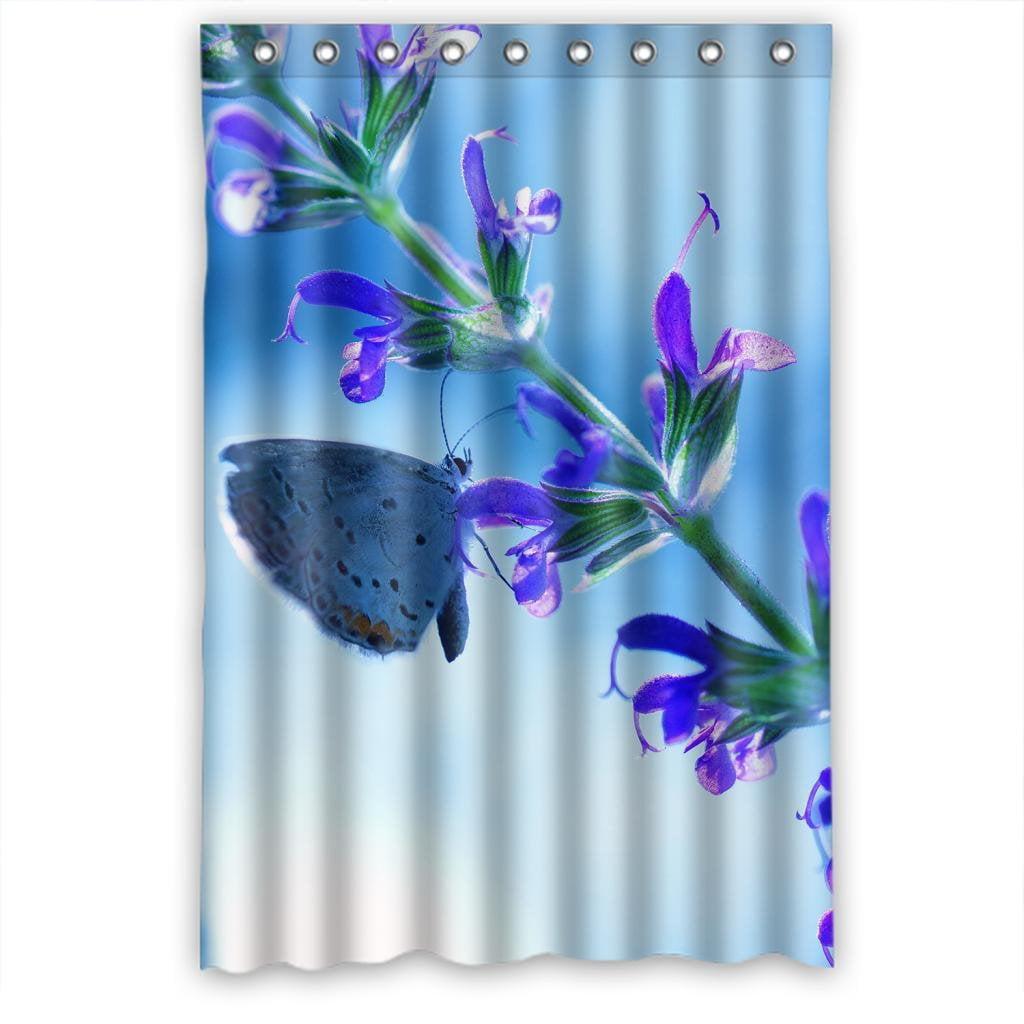 HelloDecor Purple Flower Butterfly Dreamy Shower Curtain Polyester Fabric Bathroom Decorative Curtain Size 48x72 Inches - Walmart.com