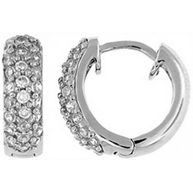 Doma Jewellery DJS02331 Sterling Silver (Rhodium Plated) Huggy Earring with CZ - 4. 5mm Wide