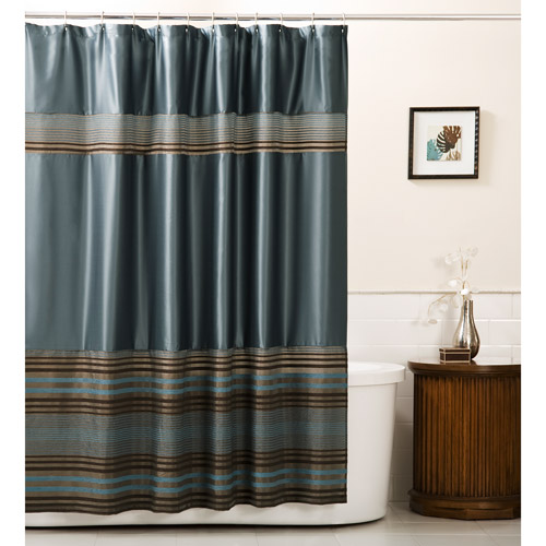 Mark Fabric Shower Curtain, Blue