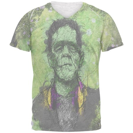 Halloween Frankenstein Raver Horror Movie Monster Mens Soft V-Neck T Shirt