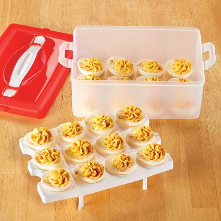 Deviled Egg Ideas Halloween (Stacked Deviled Egg Carrier - Holds 24 Eggs, Container for Easy Storage and)