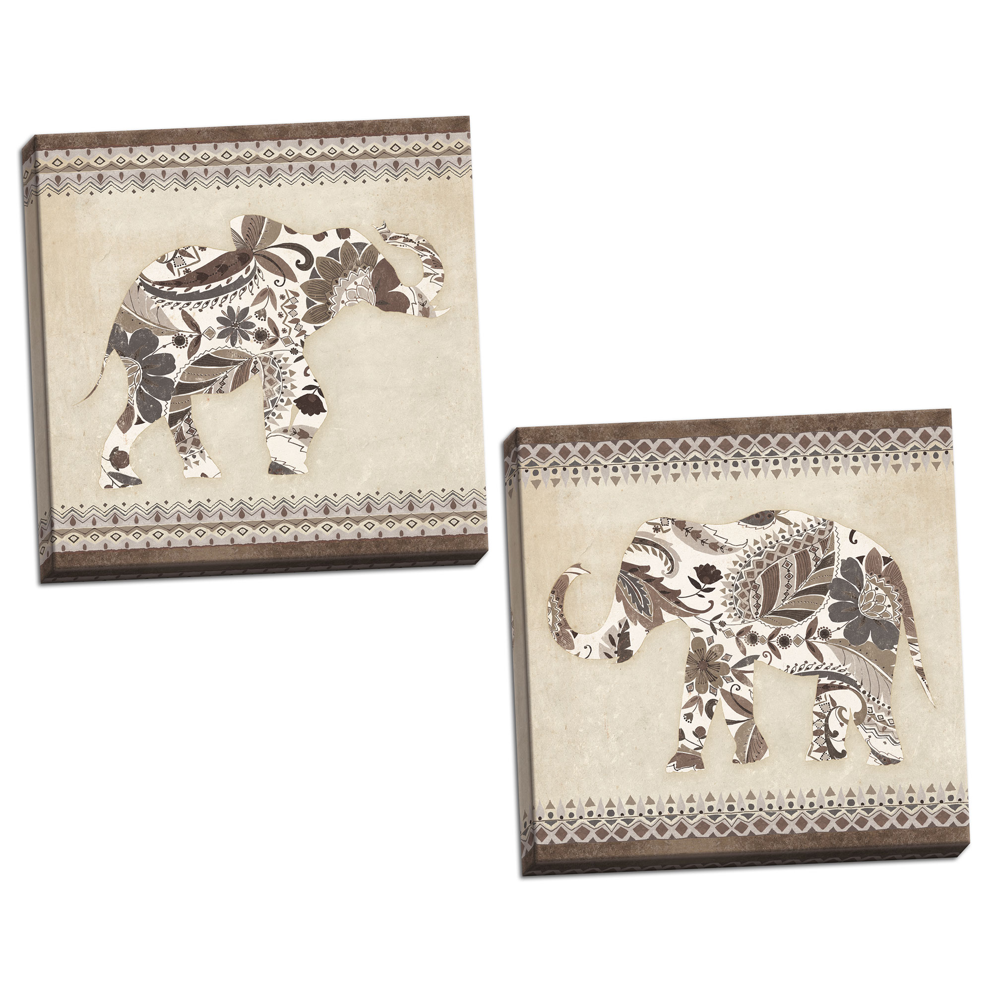 Gango Home Decor Contemporary Boho Elephant I & II Neutral by Wild Apple Portfolio (Ready to Hang); Two 12x12in Hand-Stretched Canvases
