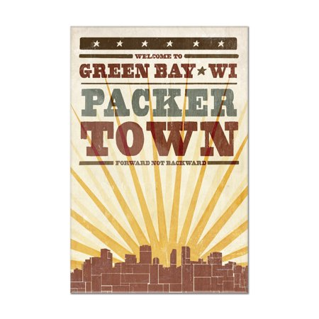 Green Bay, Wisconsin - Skyline & Sunburst Screenprint Style - Lantern Press Artwork (8x12 Acrylic Wall Art Gallery Quality) Acrylic Low Bay Lights