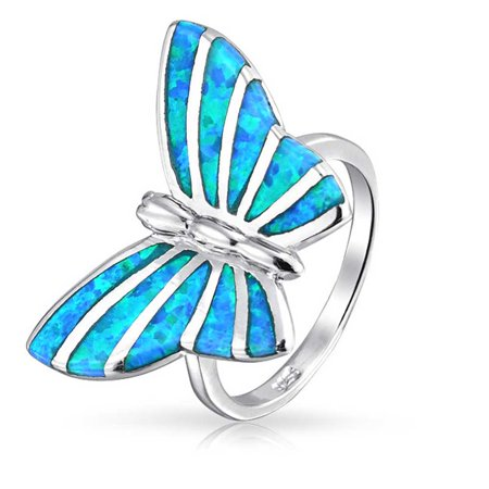 Blue Topaz Butterfly Ring - Blue Created Opal Inlay Garden Butterfly Ring For Women For Teen 925 Sterling Silver October Birthstone