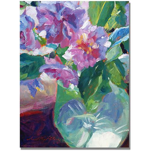 "Trademark Fine Art ""Pink Flowers in Green Vase"" Canvas Wall Art by David Lloyd Glover"