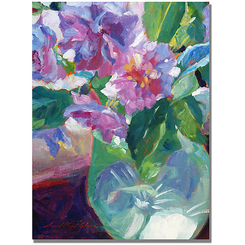 "Trademark Fine Art ""Pink Flowers in Green Vase"" Canvas Wall Art by David Lloyd Glover"
