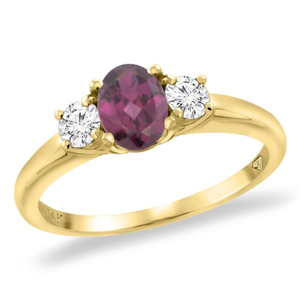 14K Yellow Gold Natural Rhodolite Engagement Ring Diamond Accents Oval 7x5 mm, size 8