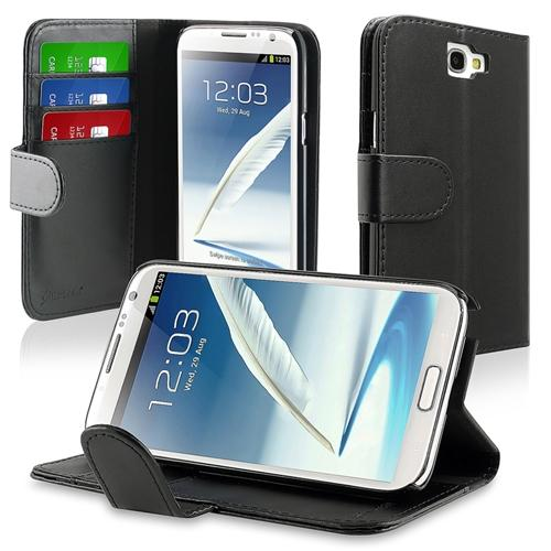 Insten Leather Wallet Case with Card Holder For Samsung Galaxy Note II N7100, Black