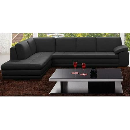 Modern Premium Black Top Grain Italian Leather Sectional Sofa Left Hand J&M 625
