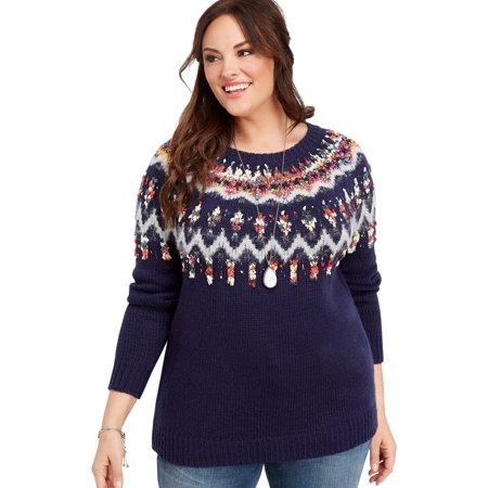 skilful manufacture high quality materials outlet Plus Size Ribbon Yoke Fairisle Sweater