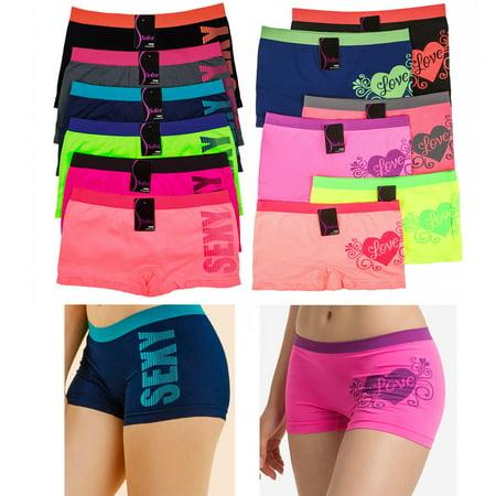 6 Sexy Love Seamless Boyshort Panties Women Underwear ...