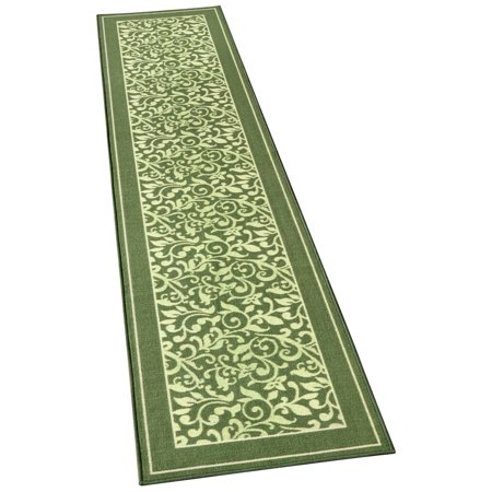 Textured Two-Tone Scroll Runner Rug with Solid Border and Skid-Resistant Backing - Spring Décor for Any Room in Home, 26
