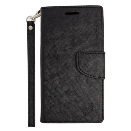 Insten Leather Wallet Case with Lanyard & Card Slot For Samsung Galaxy S6 Edge Plus - Black - image 3 de 3