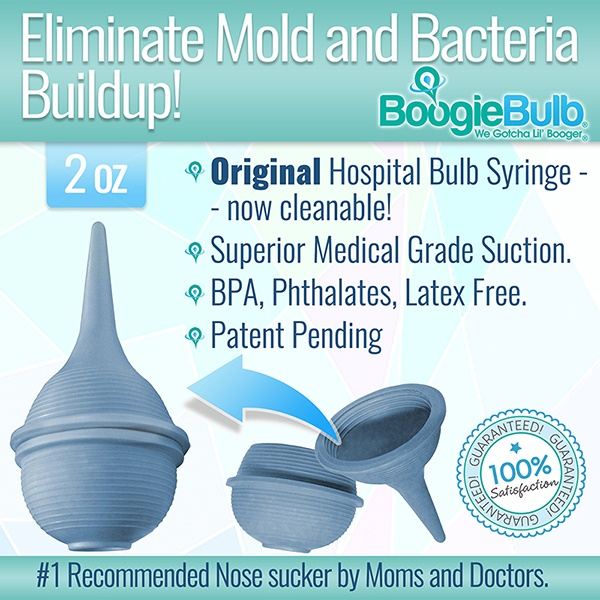 BoogieBulb Hospital Medical Grade Baby Nasal Aspirator, Cleanable and Reusable Bulb Syringe, Snot Sucker, for baby stuffy nose. BPA, Phthalate, Latex Free. Superior Suction - 2 OZ Great for newborns!
