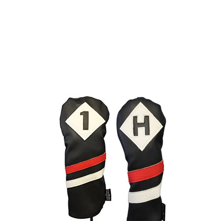 Majek Retro Golf Headcovers Black Red and White Vintage Leather Style 1 H Driver and Hybrid Head Cover Classic Look