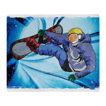 CafePress - Snowboarder In Edgy Snow Storm - Soft Fleece Throw Blanket, 50
