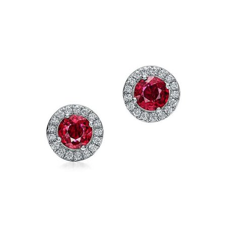 Harry Chad Enterprises 26821 3.50 CT 14K White Gold Round Cut Red Ruby with Diamonds Lady Studs Earrings - image 1 of 1