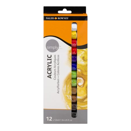 Daler-Rowney Simply Acrylic Paints - 12 Count Pack (Cheap Acrylic Paint)