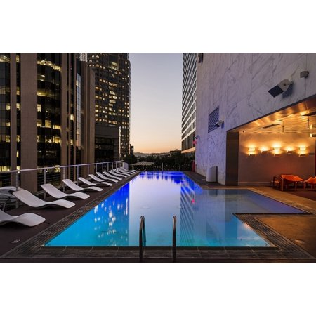 LAMINATED POSTER Swimming City Hotel Pool Downtown Rooftop Poster 24x16 Adhesive Decal - Pool City Cranberry