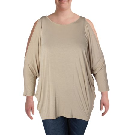 Womens Plus Stretch Crew Neck Pullover Top