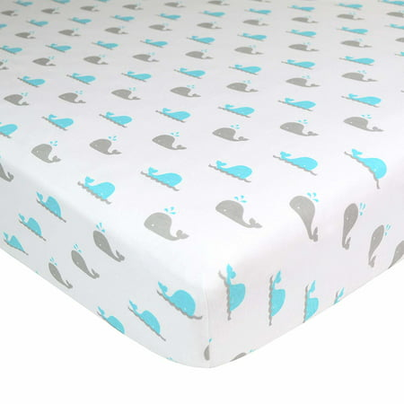 American Baby Company 100% Natural Cotton Value Jersey Knit Fitted Bassinet Sheet, Aqua Whales, Soft Breathable, Boys and Girls ()