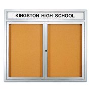 Glass Enclosed Locking Natural Cork Bulletin Board w Header (42 in. x 24 in.)