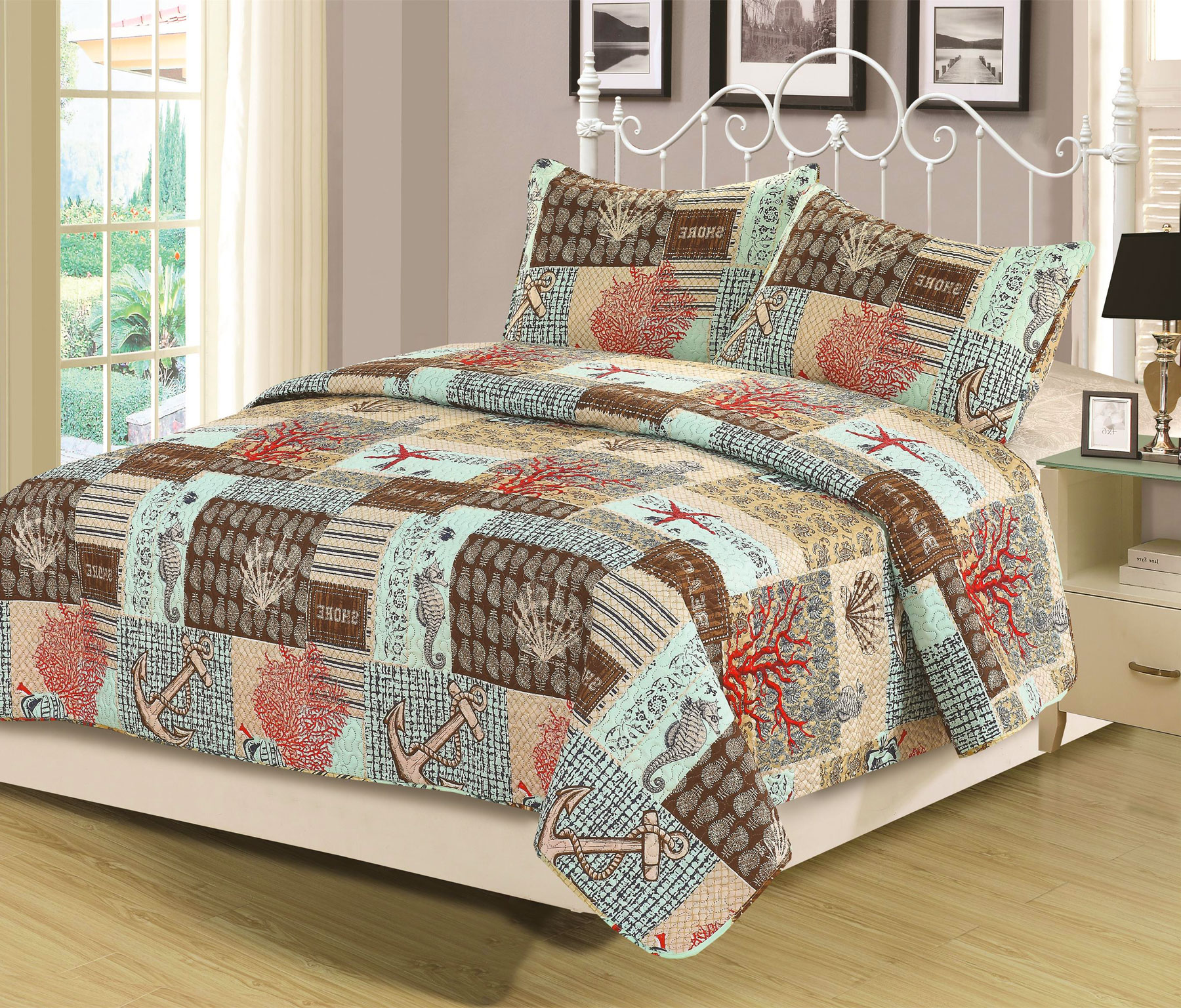 Queen Quilt Set 3 Piece Bedspread Coverlet Blue Nautical Anchor by HowPlumb